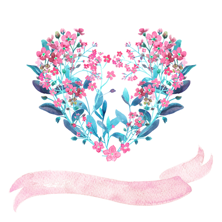watercolour: Watercolor heart-shaped and ribbon set. Red forget-me-nots with virid leaves on white background. Can be used as wedding invitations, print, your banner or Postcards for Valentines Day. Pink tape.