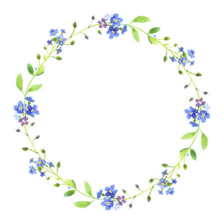 水彩の花輪。白い背景の上の緑の葉と青いワスレナグサ。バレンタインの日の結婚式の招待状、印刷、あなたのバナーやポストカードとして使用で