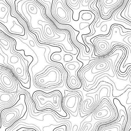 シームレス パターン。架空のトポ等高線地図デザイン。ベクトル。地理学の概念。抽象的な波状のグラフィックの背景。地図作成。線地形等高線地