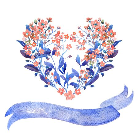 Watercolor heart-shaped and ribbon set. Red forget-me-nots with blue leaves on white background. Can be used as wedding invitations, print, your banner or Postcards for Valentines Day. Isolated.