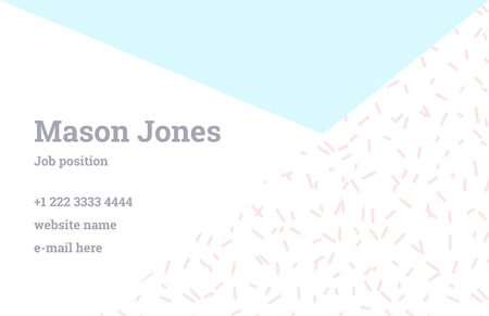 webdesigner: Fashion business card template in the style of Memphis. Perfect combination of organic pattern and geometric shapes. A pattern of pastel blue triangle and pink dashes. Funky design.