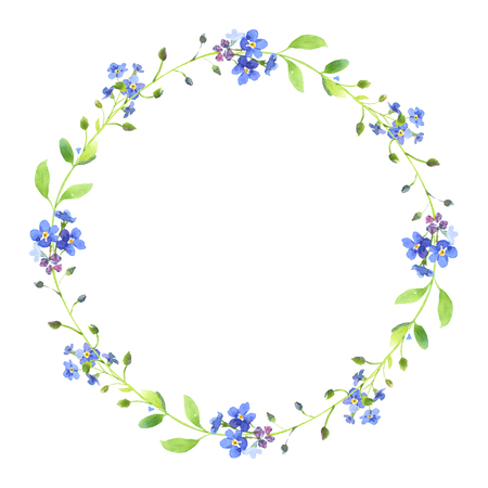 Watercolor wreath. Blue forget-me-nots with green leaves on white background. Can be used as wedding invitations, print, your banner or Postcards for Valentines Day.