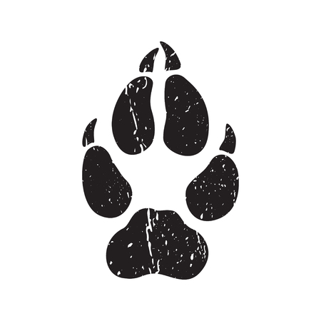 A trace from a wolf. White silhouette of foot on a black background. Vector. The sign of the print of the wolfs legs. Logo of the footprint. Illustration