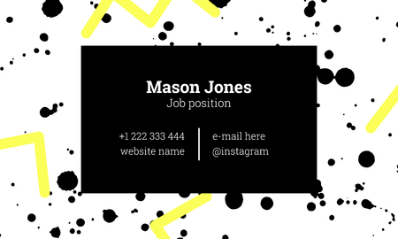 Fashion business card template in the style of Memphis. Bright yellow and black colors. Zigzags and paint splatters. The modern design.