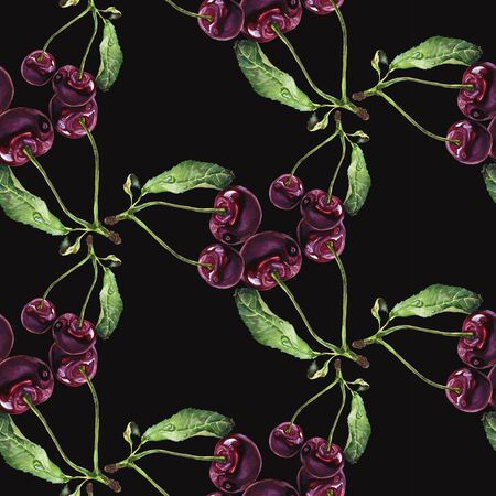 Seamless pattern. Hand drawn watercolor realistic illustration. Vinous cherry. Isolated on black background. Red berries. Juicy, fresh, eco-friendly.
