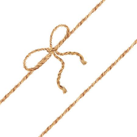 수채화 손으로 린 넨 밧줄의 bowknot와 함께 그려진 된 배경. 선물용 넥타이 상자. 나비 수채화와 황 마 로프입니다. 꼬기. 흰색 배경에 고립 된 그림입니 스톡 콘텐츠