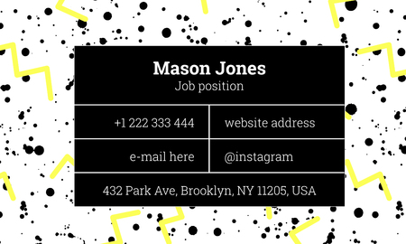 memphis: Bar fashion business card template in the style of Memphis. Bright yellow and gray colors. Zigzags and paint splatters. The modern design. Background and composition information in rectangular blocks. Illustration