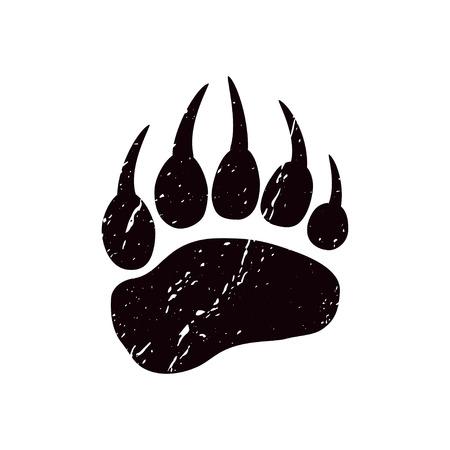 Um traço de um urso. Silhueta preta da pata em um fundo branco. Vetor. A impressão do pé de um urso. Logotipo da pegada. Logos