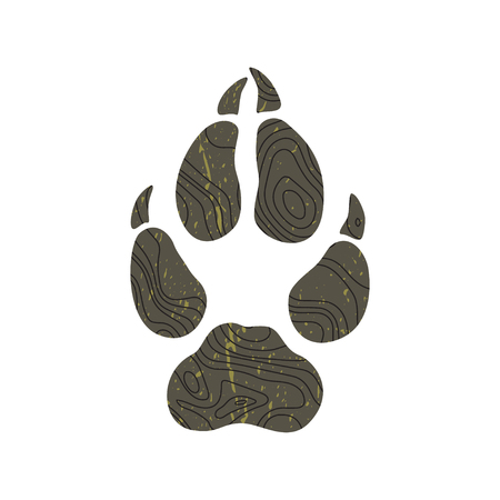 Super fashion design logo. The modern trend fictional topo map design and a trace from a wolf. Silhouette of foot with contour map. Abstract topographic icon. Khaki and black color. Mapping logotype.