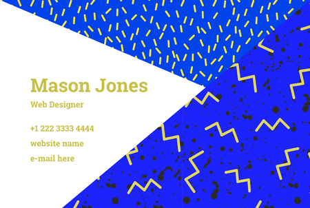 Business card template in the style of memphis bright yellow business card template in the style of memphis bright yellow and ultramarine colors a reheart Image collections