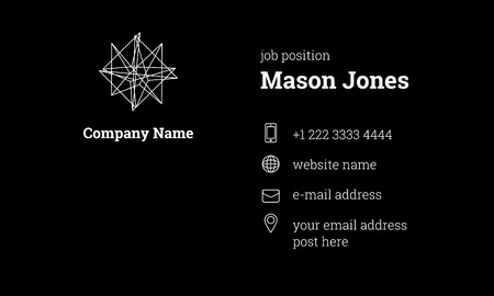 Black and white business card template. US standard size 3.5x2 in. Withe bleed size 0.125 in. Vector. Minimal and official style. With geometric shape logo.