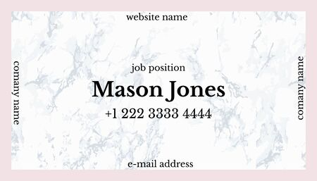 unilateral: Trendy pink and gray marble. Business card template. US standard size 3.5x2 in. With bleed size 0.125 in. Vector. Minimal and official style. Square concept.
