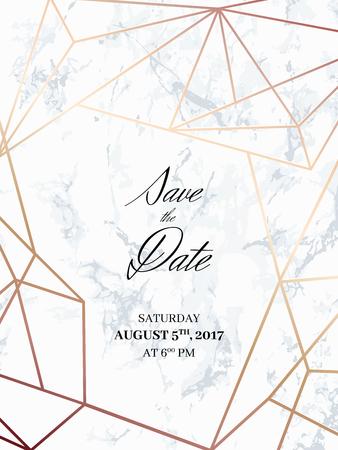 Ahorre la plantilla del diseño de la fecha. Invitación a una fiesta. Fondo de mármol blanco y modelo geométrico del oro color de rosa. Dimensiones 4,625x6,25 pulgadas, tamaño de purga de 0,125. Seamless patrón incluido. Eps10.