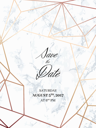 Save the date design template. Invitation to a holiday party. White marble background and rose gold geometric pattern. Dimensions 4,625x6,25 inch, 0.125 bleed size. Seamless pattern included. Eps10. Stock Illustratie