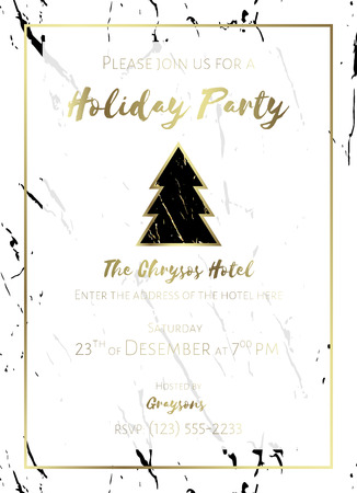 Invitation to a holiday party. White and black marble background and gold  text. Christmas