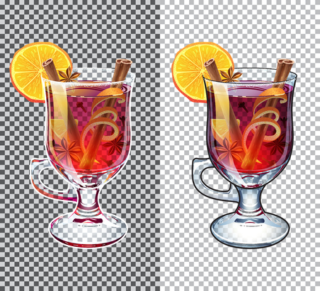 Mulled wine. Black and white outline. Autumn drink. Christmas holiday alcoholic cocktail. Transparent illustration. Separate ingredients. Anise star, cinnamon sticks, orange, wine and cloves  イラスト・ベクター素材