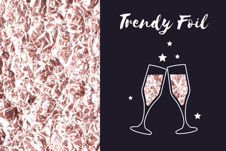 lifelike: Vector background of foil texture and icon glasses of champagne. Rose gold and copper or bronze color. Sparkle wrinkled texture. Bronze metallic.