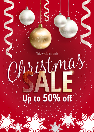 The Christmas sale. Discounts up to 50 percent. Banner for website or advertising flyer. Realistic vector. Golden, red and white colors. Festive new year design template. EPS10.
