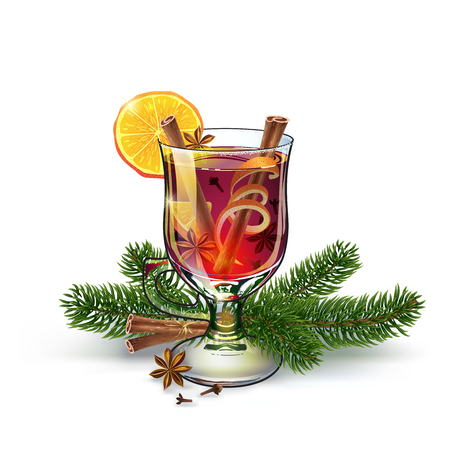 Mulled wine with christmas twigs. Xmas drink. Christmas holiday alcoholic cocktail. Vector EPS10 . Colorful realistic hand drawn illustration. White background. Fabulous atmosphere.
