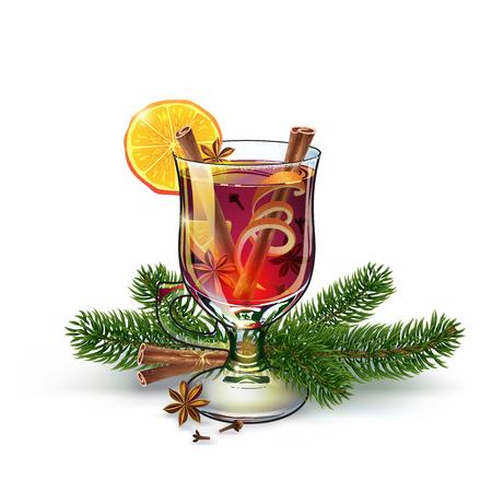 Vino caliente con ramitas de Navidad. Bebida de Navidad Cóctel alcohólico de vacaciones de Navidad. Vector EPS10. Colorida mano realista dibujado ilustración. Fondo blanco. Ambiente fabuloso