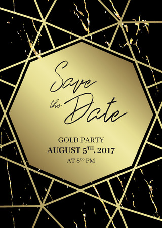 Save the date design template. Formal invite to follow. Black and gold marble background and gold geometric dimond shape. Seamless pattern included. Eps10. Illustration