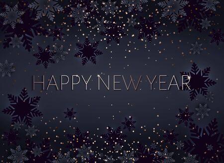 Black Happy New Year postcard. Gold inscription. Xmas banner.