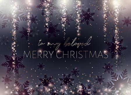 Black Merry Christmas postcard. Gold inscription. Xmas banner. Illustration