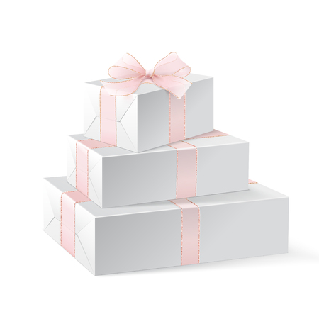 Stack of three realistic white gift boxes with pink ribbon and bow. Isolated on white background. Vector illustration. White blank wrapping paper for your pattern design. Mock up. Christmas gifts.