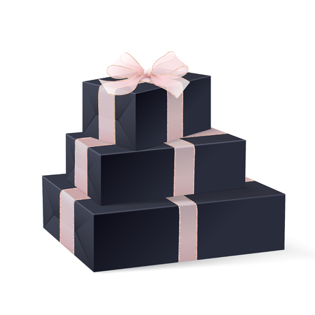 Stack of three realistic black gift boxes with pink ribbon and bow. Isolated on white background. Vector illustration. White blank wrapping paper for your pattern design. Mock up. Christmas gifts.