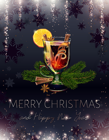 Mulled wine. Black Merry Christmas and happy new year postcard. Holiday alcoholic cocktail. Realistic illustration. Xmas banner. Falling sequins and sparkle. Sparkly rain. Proportional to A6. Vector. Illustration
