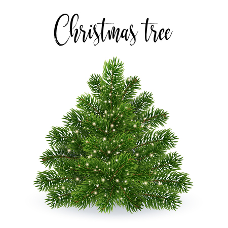 Christmas tree without toys. Realistic illustration. Falls Golden glowing dust. Shining spark and create the impression of magic. EPS10