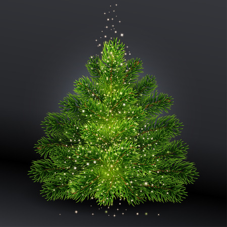 Christmas tree without toys. Realistic illustration on black background. Falls Golden glowing dust. Shining spark and create the impression of magic.