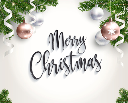 Merry Christmas background for congratulations. Realistic illustration. Green branches of Christmas tree, shining lights and gold balls. Empty middle. Seamless pattern included. Vector. EPS10.