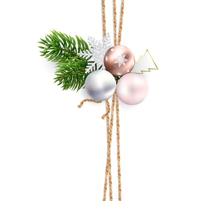 Vertical strips of linen cords for Christmas decorations, cards, packaging, background. Decoration or bouquet of composition of Christmas tree branches, toys and snowflakes on top. Realistic vector.