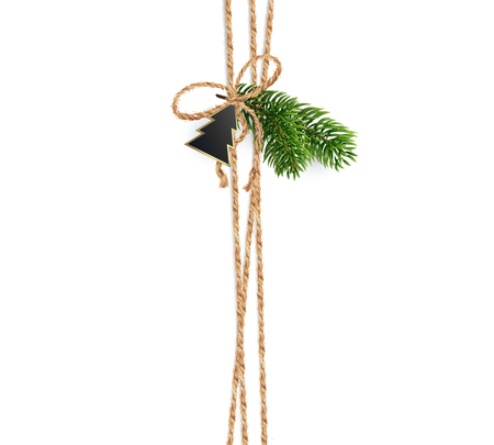 Vertical stripe linen ropes for Christmas decorations, Realistic vector