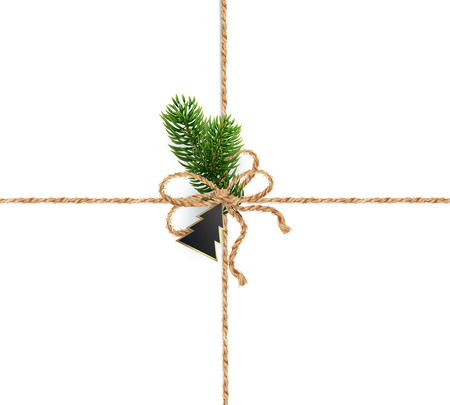 Crossover burlap strings for Christmas decorations Realistic vector