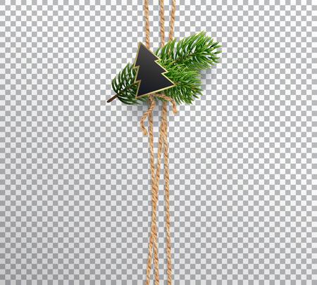 クリスマスの飾り、カード、包装、背景の縦リネン ロープです。装飾やクリスマス ツリーの枝とモミの組成の花束の上に署名します。現実的なベク
