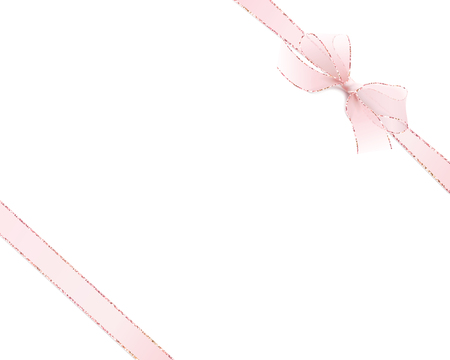 Two ribbons diagonally. Card with satin pink bow and ribbons on white background.