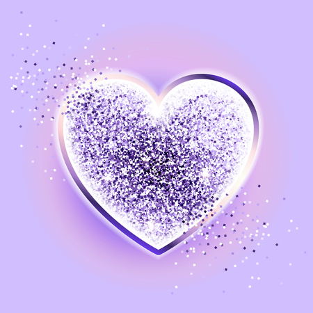Festive sparkle ultraviolet heart. Happy valentines day. Glittering heart on a lavender background.