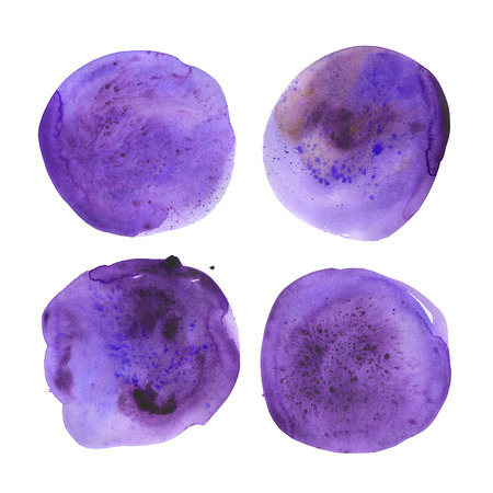 Set of hand drawn watercolor ultraviolet spots. Collection purple round stains. Isolated on white background. Wet texture, grained paper. A deep saturated tone. Color 2018. A kit of blotches. Stock Photo