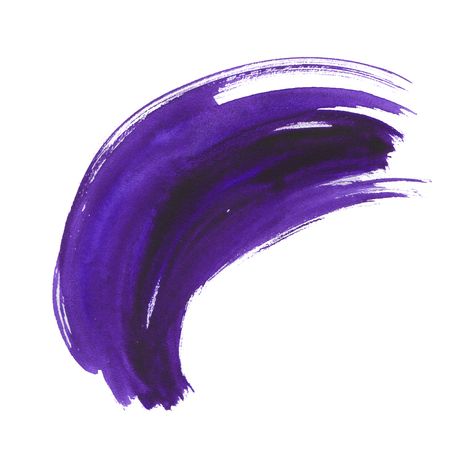 Watercolor ultra violet dry brushstroke. A smear with a dry brush for your creativity. Purple, lavender, eggplant color. High quality.