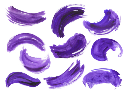 A collection of brush strokes with a dry brush for your creativity. Purple, lavender, eggplant colors. High quality.