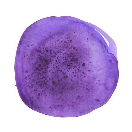 Hand drawn watercolor ultraviolet spot. Purple round stain. Use for wrap, wallpaper, website, decor. Isolated on white background. Wet texture, grained paper. Deep and saturated tone. Color 2018
