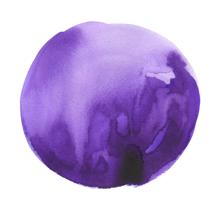 Hand drawn watercolor ultraviolet spot. Purple round stain. Use for wrap, wallpaper, website, decor. Isolated on white background. Wet texture, grained paper. A deep rich color.