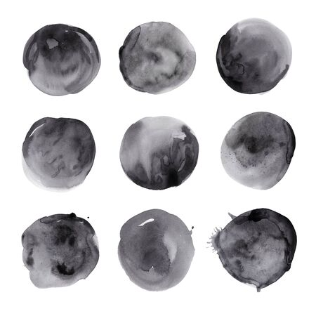 Set of hand drawn watercolor black spots. Collection ink round stains. Isolated on white background. Wet texture, grained paper. A deep saturated tone. A kit of blotches.