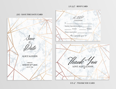 Wedding set. Save the date, thank you and R.S.V.P. cards template of geometric design. White marble background and rose gold geometric pattern. Seamless pattern included. Eps10. Çizim