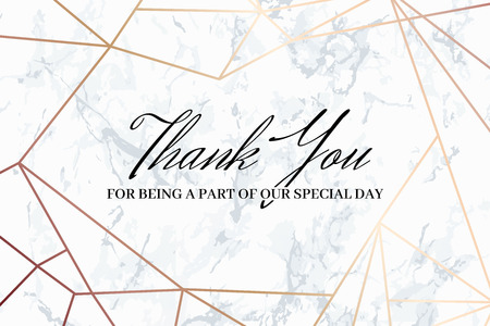 Thank you geometric design card template. White marble background and rose gold geometric pattern. Dimensions 6x4 inch. Seamless pattern included. Eps10.