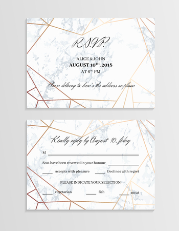 RSVP geometric design card template. White marble background and rose gold geometric pattern. Dimensions 5x3.5 inch. Seamless pattern included. Eps10.