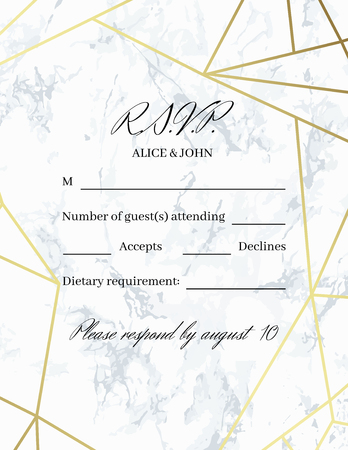 Rsvp design card template. White marble background and gold geometric pattern. Dimensions 4.25x5.5 inch. Seamless pattern included. Eps10.
