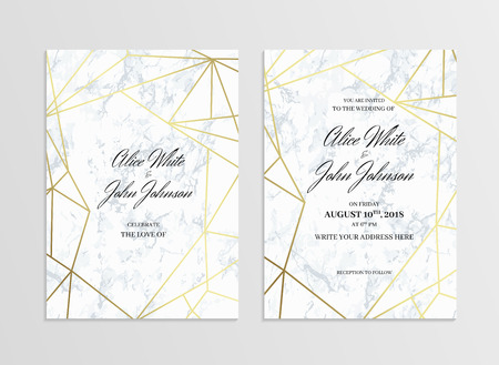 Invitation card template of geometric design. Two side. Invitation to a wedding party. White marble background and gold geometric pattern. Dimensions 5x7 inch. Seamless pattern included. Eps10.